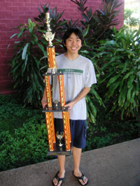 Hawaii Chess Champ Robert Lau with a Trophy