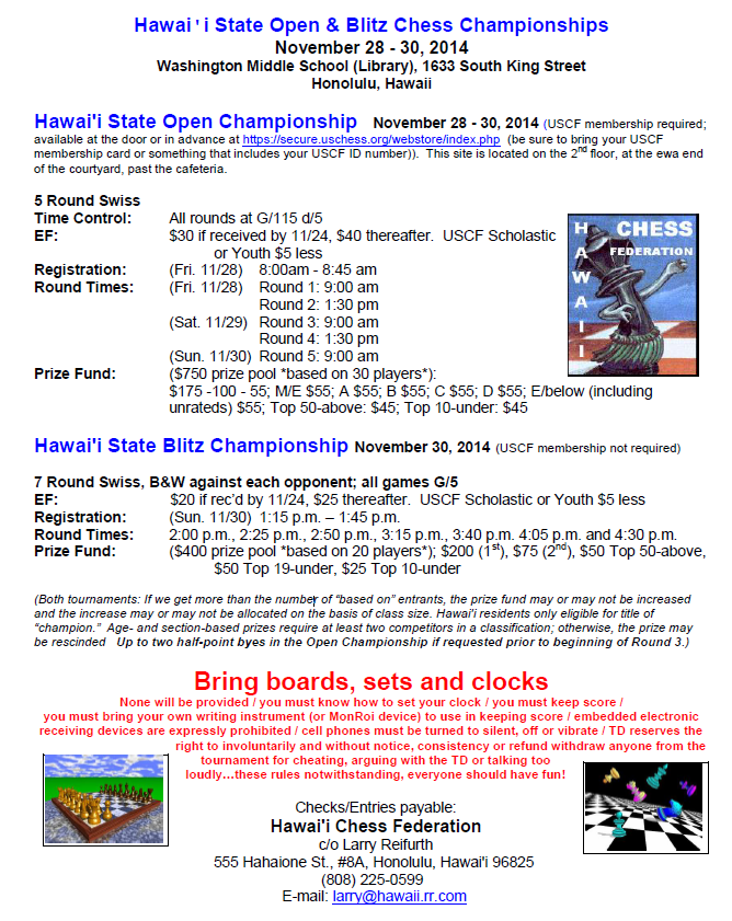 Details and Entry Form for the 2014 Hawaii State Open and Blitz ...
